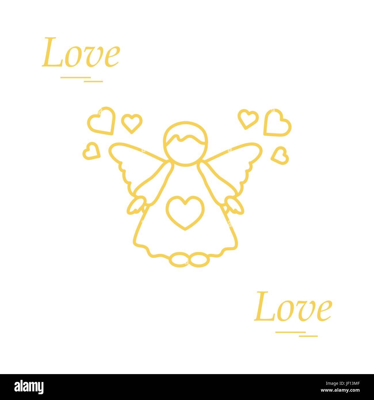 Cute Vector Illustration Angel And Hearts Love Symbol Design For Banner Flyer