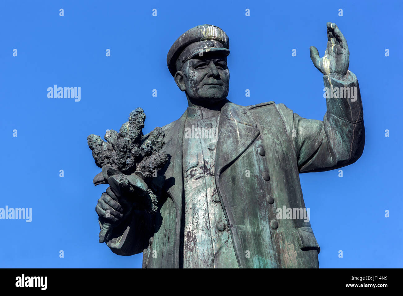 Marshal Ivan Konev, Soviet military commander, monument at Dejvice, district of Prague, Czech Republic, Europe - Stock Image
