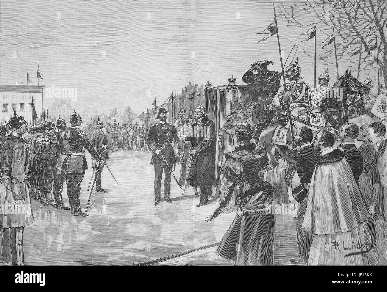 Historical illustration of the visit of Bismarck in Berlin, Germany. Here his arriving at the Lustgarten, together with price Heinrich. Otto von Bismarck, 1815 - 1898, Prussian statesman and first Chancellor of Germany, Digital improved reproduction from an original print from 1888 Stock Photo