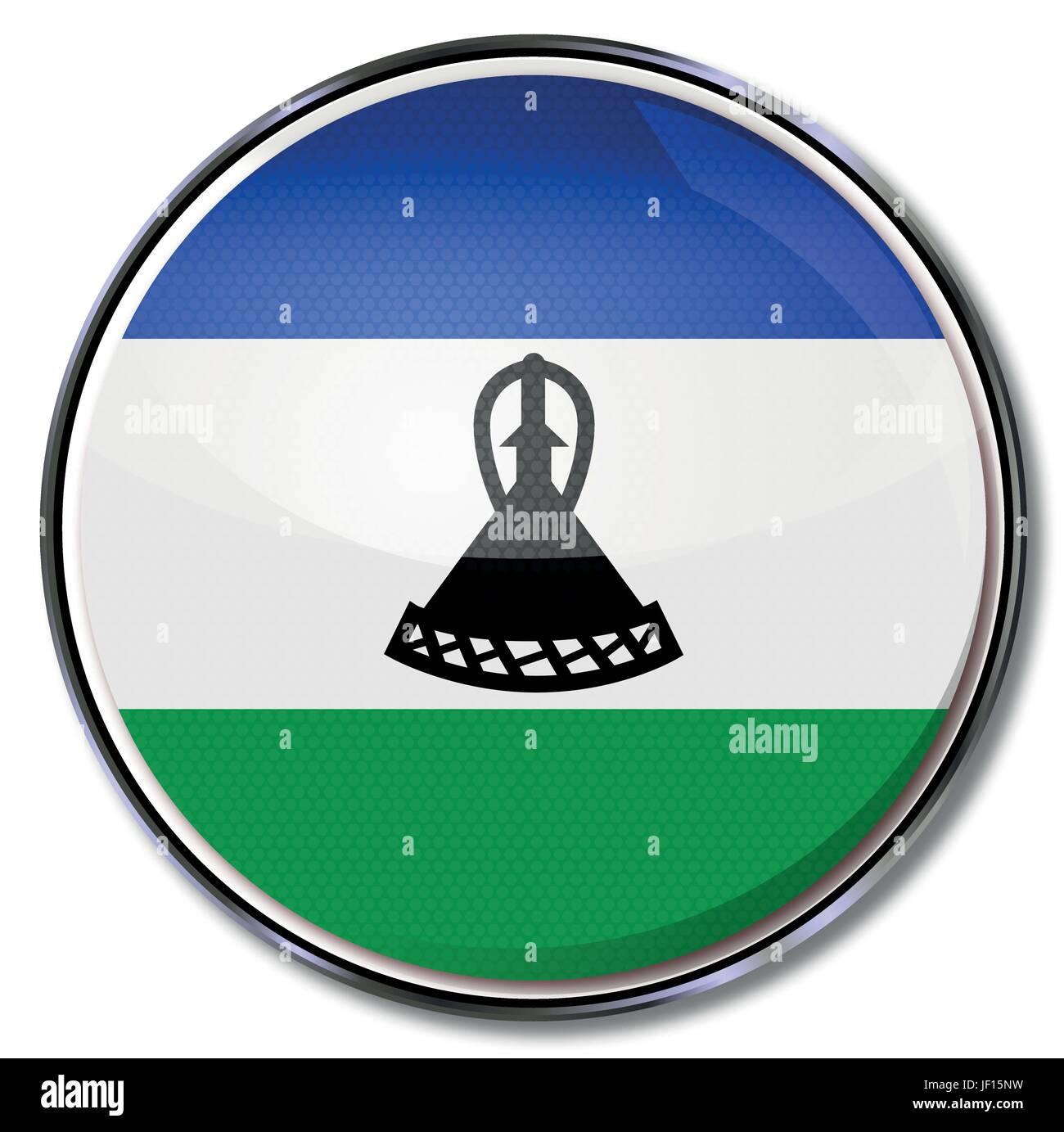 africa, monarchy, kingdom, lesotho, social, africa, flag, border, button, card, - Stock Vector