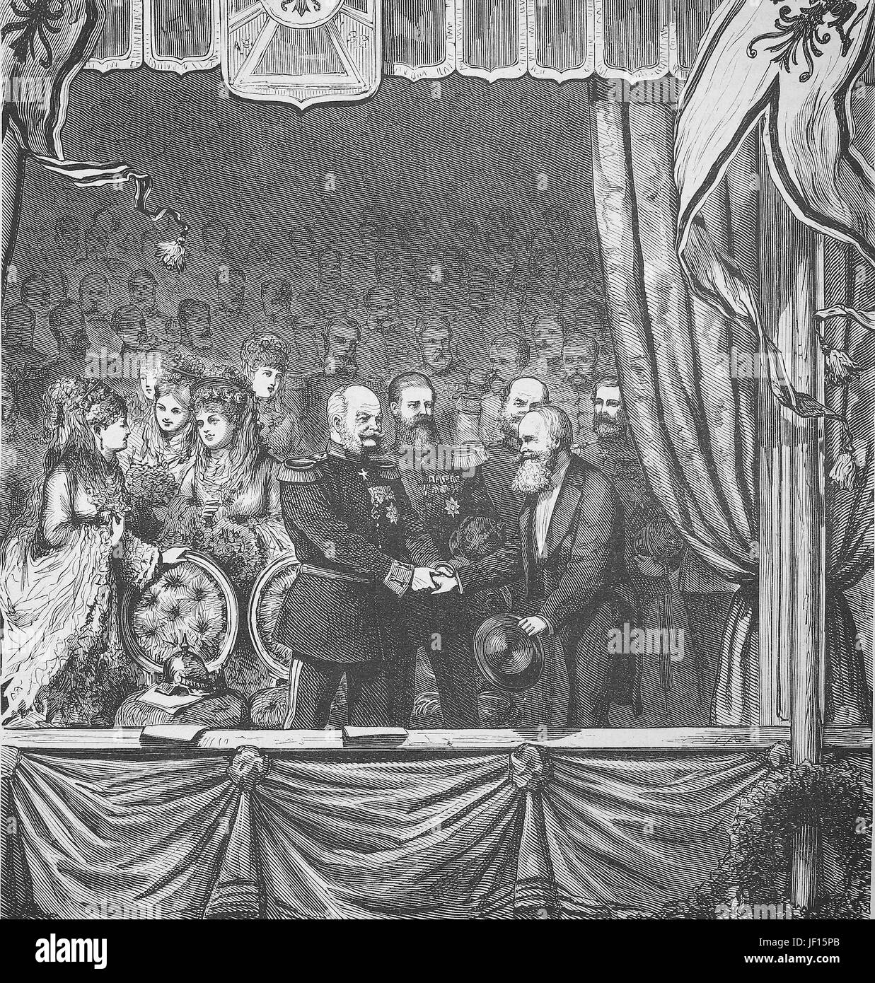 Historical illustration of the emporer, shaking hands with an artist, 1870, Digital improved reproduction from an - Stock Image