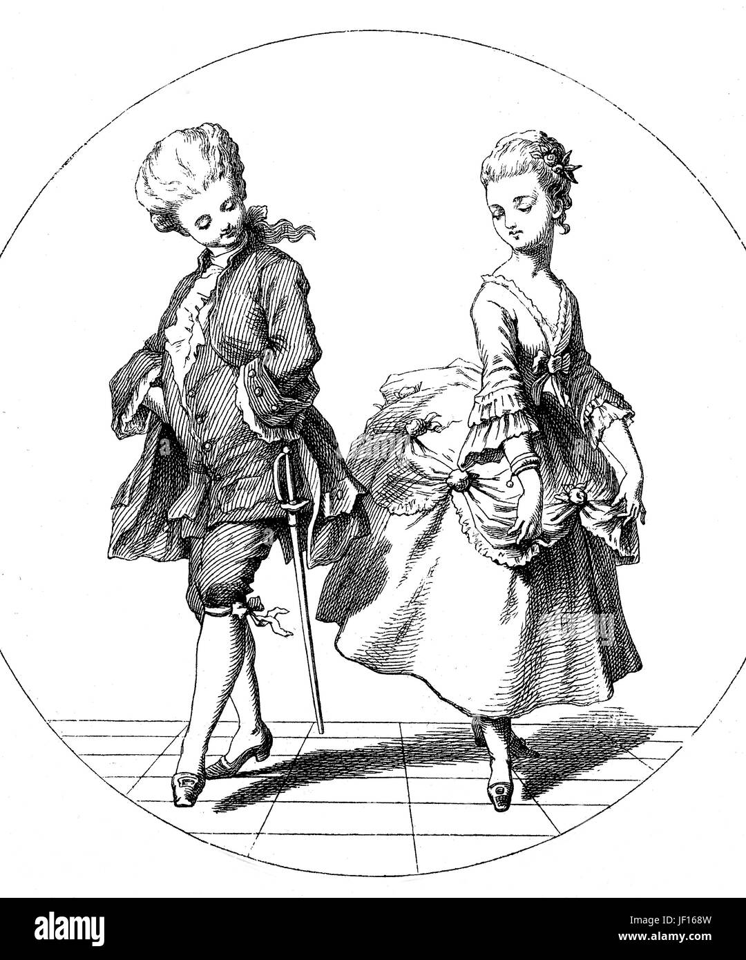 Historical illustration of a couple dancing the Pas-de-deux, dance duet in which two dancers, Digital improved reproduction - Stock Image