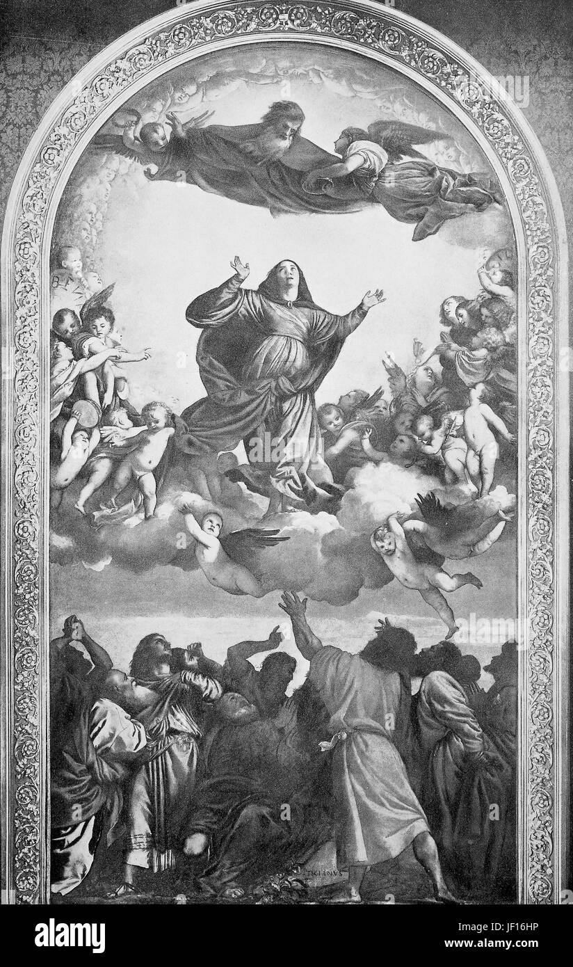 Historical photo of Assumption of the Virgin, painting by Titian, Italy,  Digital improved reproduction from an - Stock Image