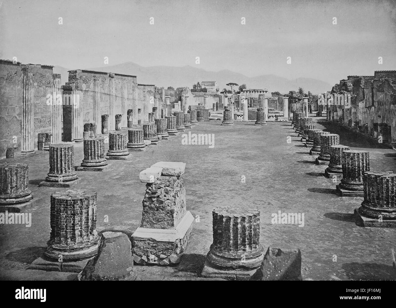 Historic photo of Ruins of Pompeii, the basilica, Italy,  Digital improved reproduction from an original print from - Stock Image