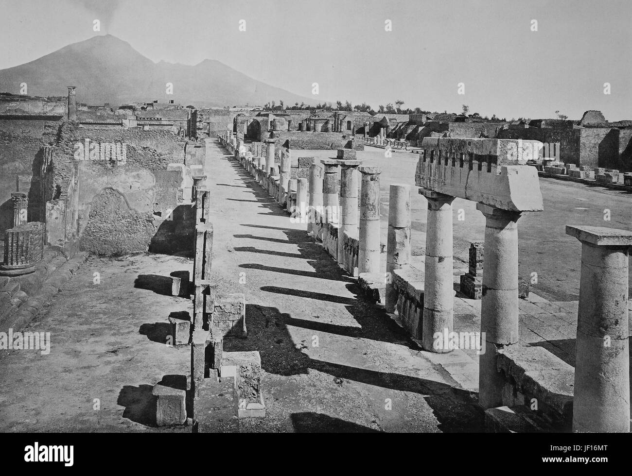 Historical photo of Pompeii, The Forum with Vesuvius in the distance, Italy,  Digital improved reproduction from - Stock Image