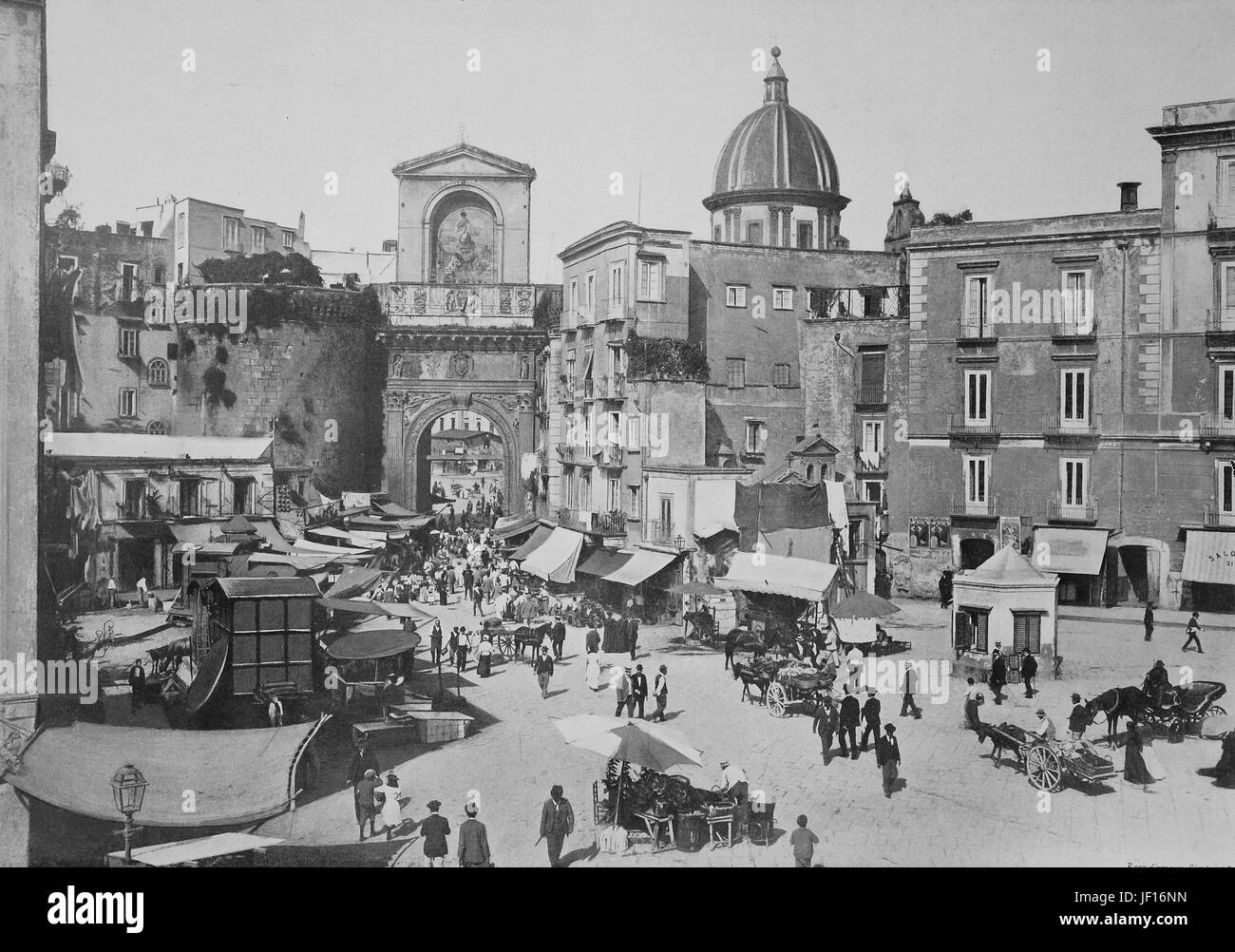 Historic images of Napoli, Neapel, Naples, Porta Capuana, Italy,  Digital improved reproduction from an original - Stock Image