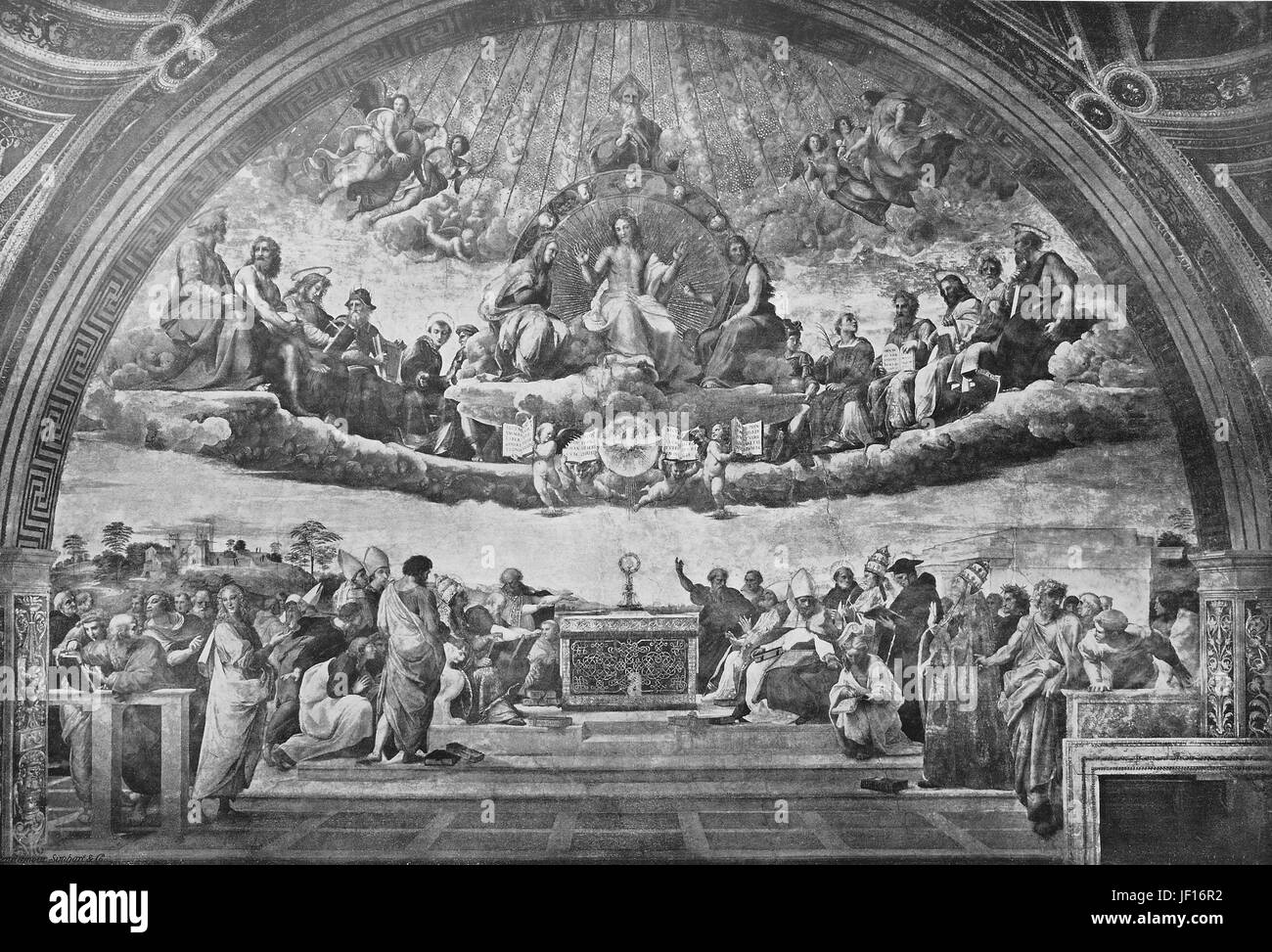 Historical image of The dispute, by Raphael, Vatican City State or the State of Vatican City, Stato della Città - Stock Image