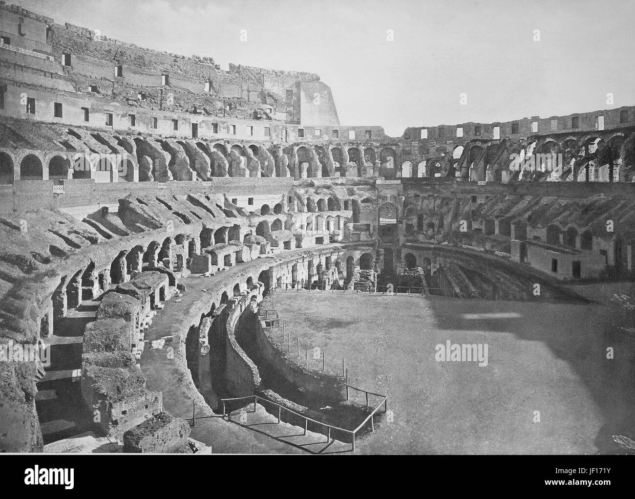 Historical photo of inside if Colosseum or Coliseum, also the Flavian Amphitheatre, Amphitheatrum Flavium, Anfiteatro - Stock Image