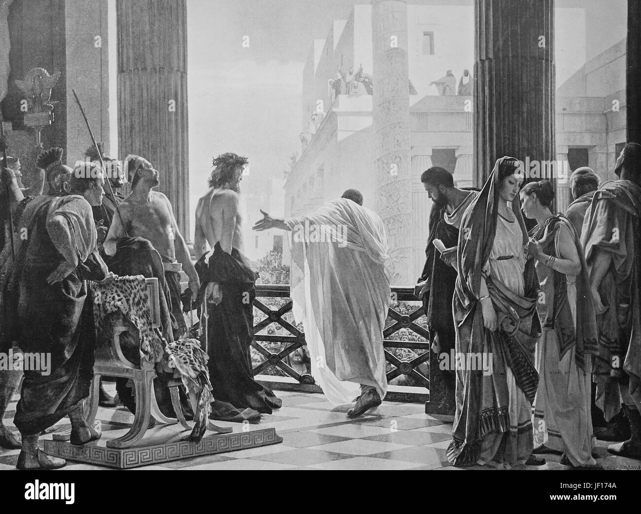 Historcal photo of Rome, Ecce Homo of A. Ciseri, national gallery, scene of the Ecce Homo is a standard component - Stock Image