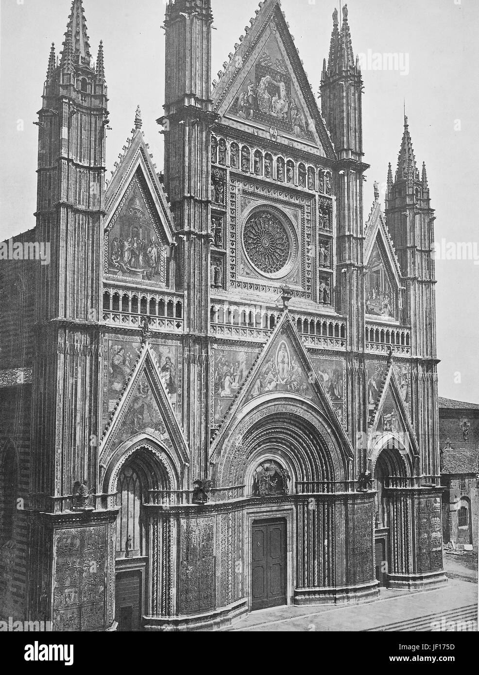 Historical photo of Orvieto, Orvieto Cathedral, Duomo di Orvieto, Cattedrale di Santa Maria Assunta, a large 14th - Stock Image