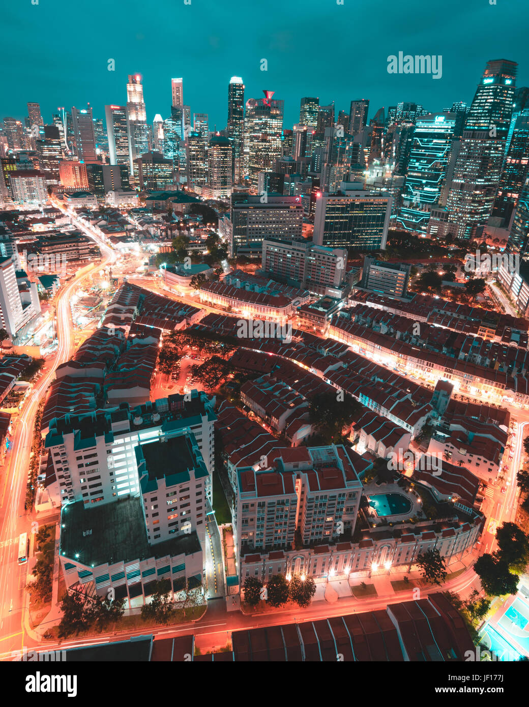 SINGAPORE: Cityscape at night. MIND-BLOWING images show what looks like a science fiction megacity is in fact the - Stock Image