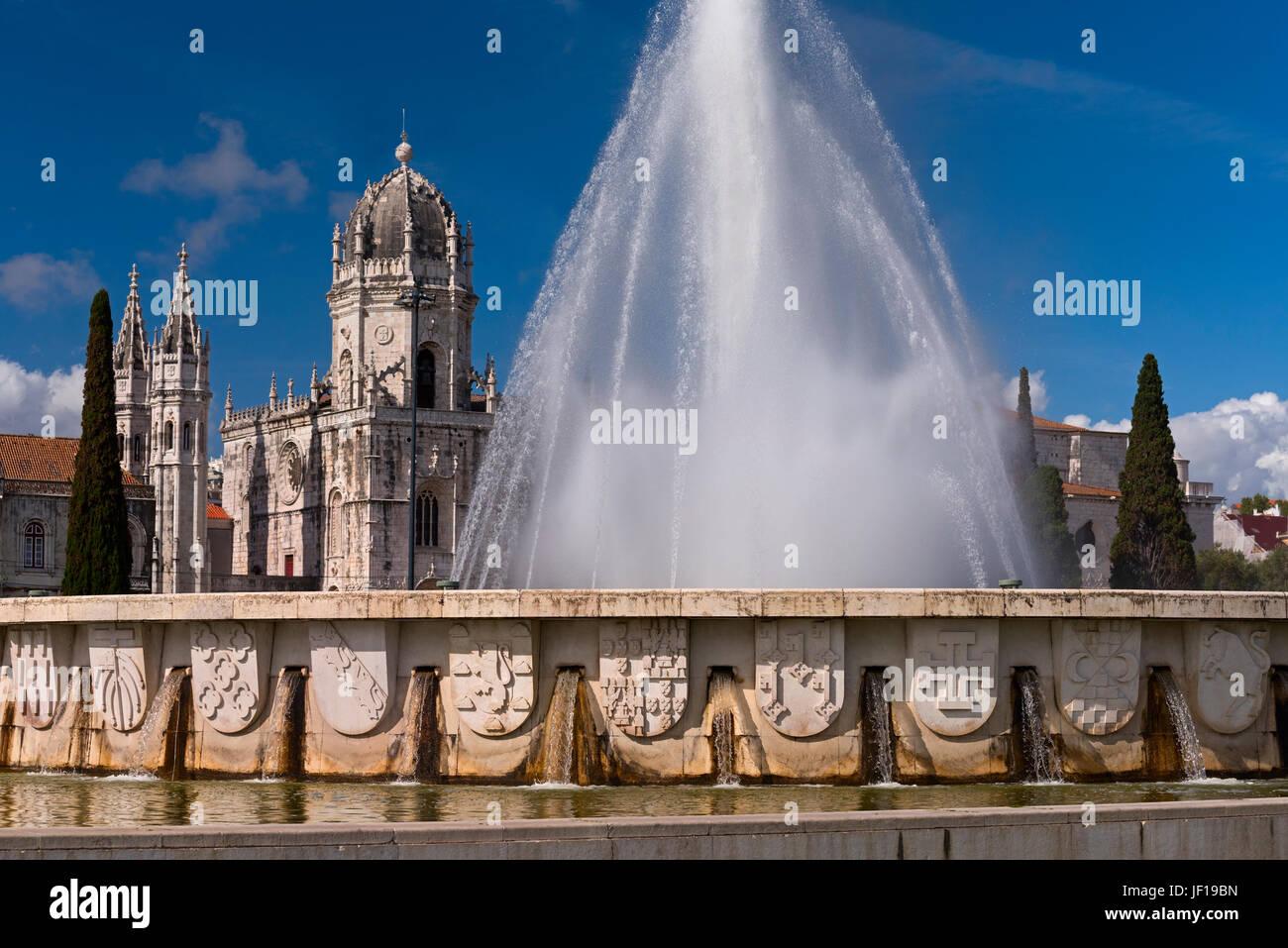 Mosteiro dos Jeronimos and fountain Belem Lisbon Portugal - Stock Image
