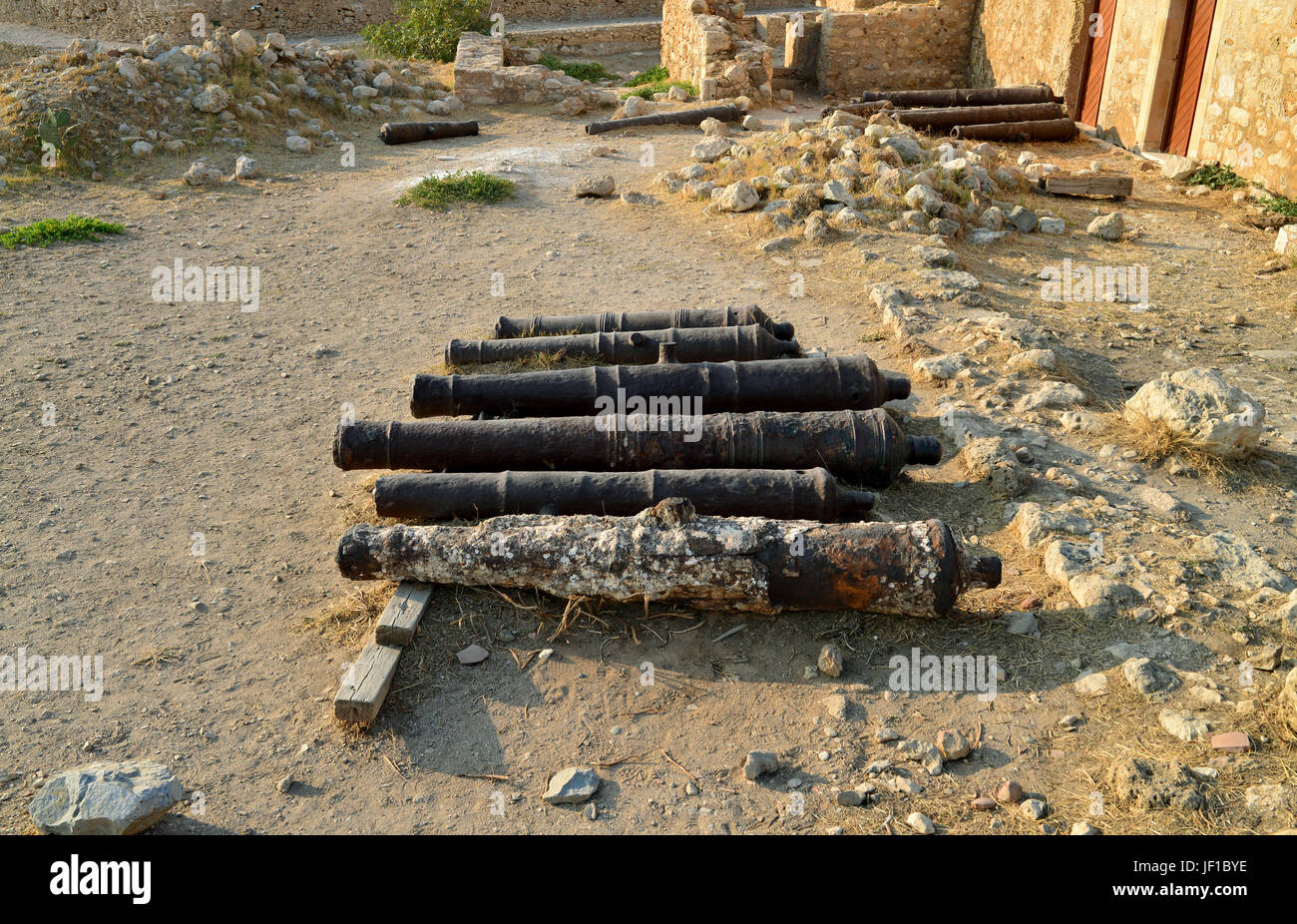 Rethymno Fortezza fortress cannons Stock Photo