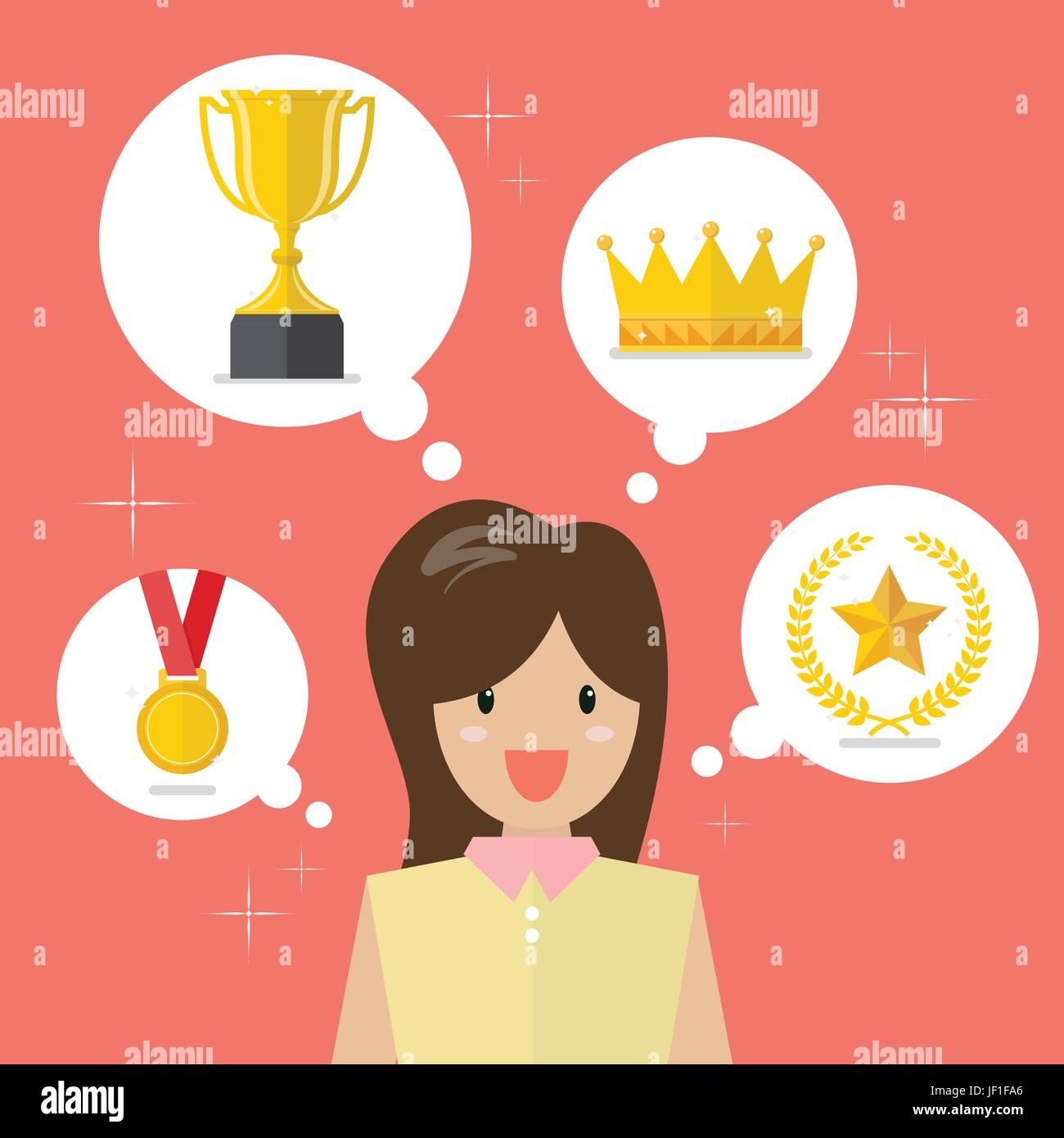 Woman think about achievements. Vector illustration - Stock Image