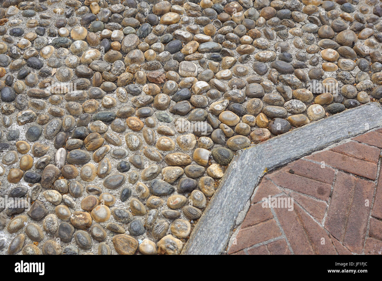 Floor Design With Terrace Tiles And Ornamental Gravel Various Stock