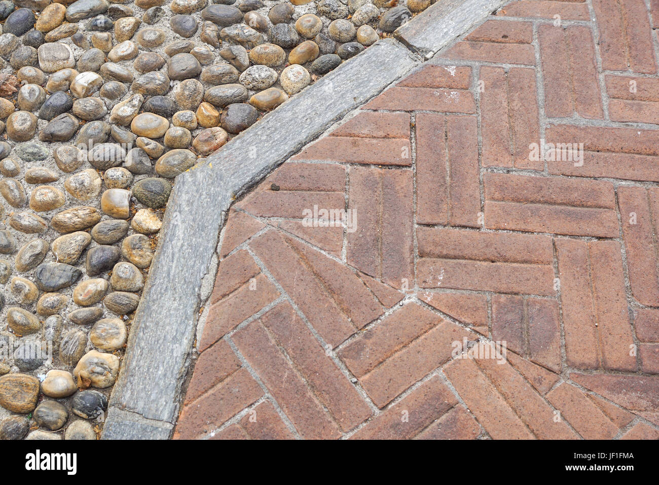 Floor design with terrace tiles and ornamental gravel; Various Stock ...