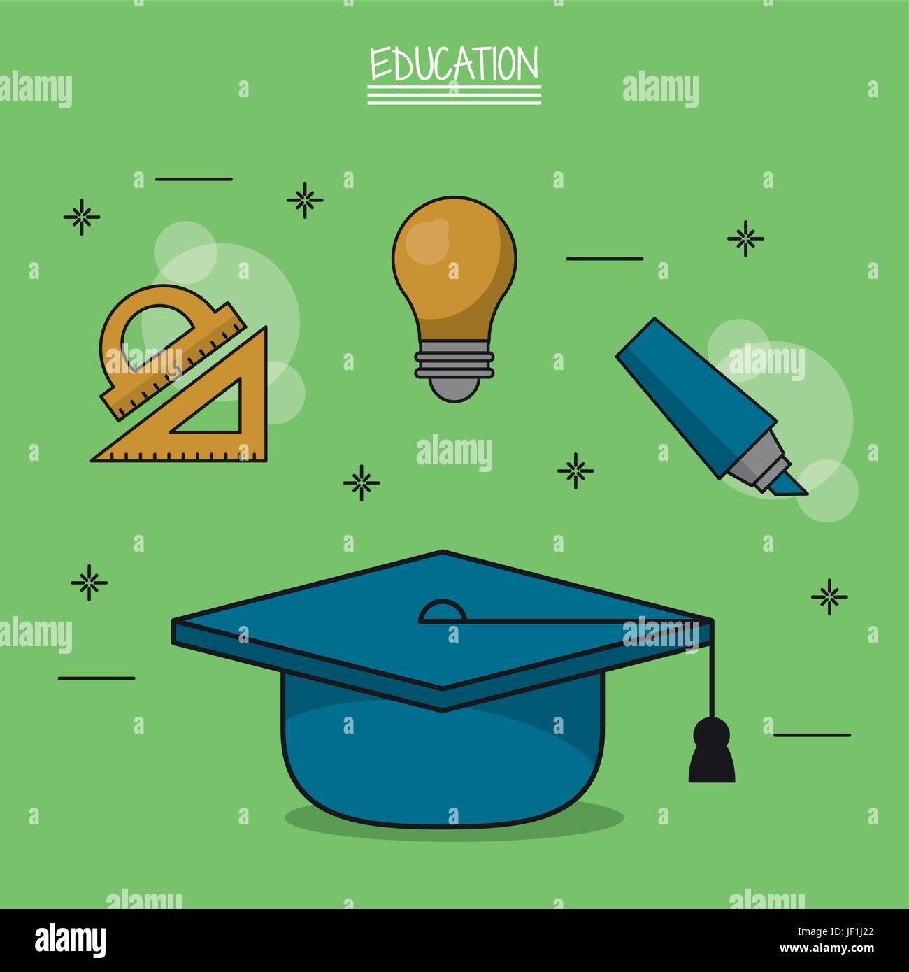 colorful poster of education with graduation cap in closeup and icons of geometric rulers and light bulb and marker - Stock Vector