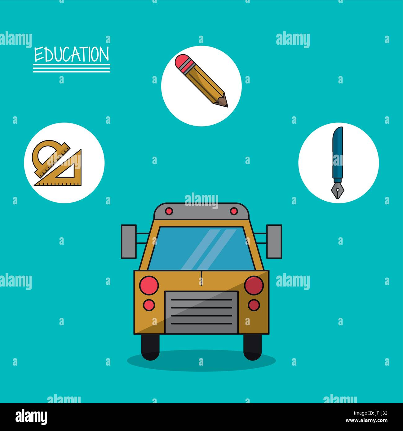colorful poster of education with school bus in closeup and icons of geometric rulers and pencil and fountain pen - Stock Vector