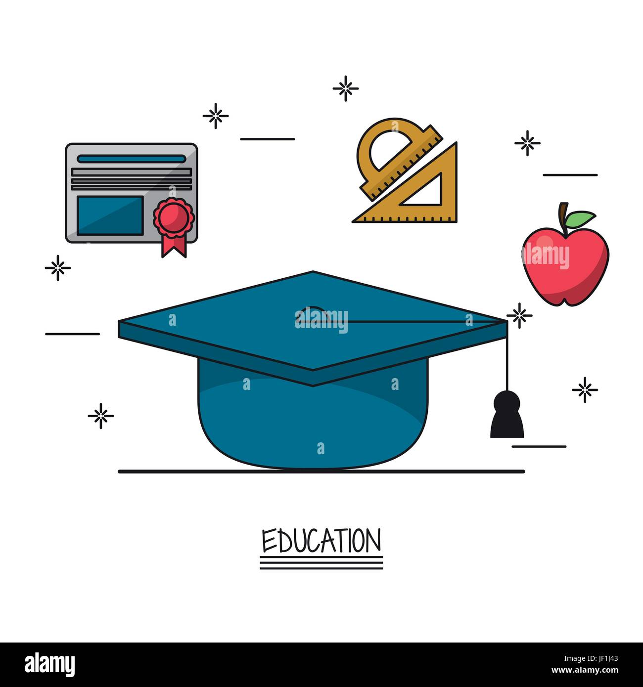 white background poster of education with graduation cap in closeup and icons of diploma and geometric rulers and - Stock Image