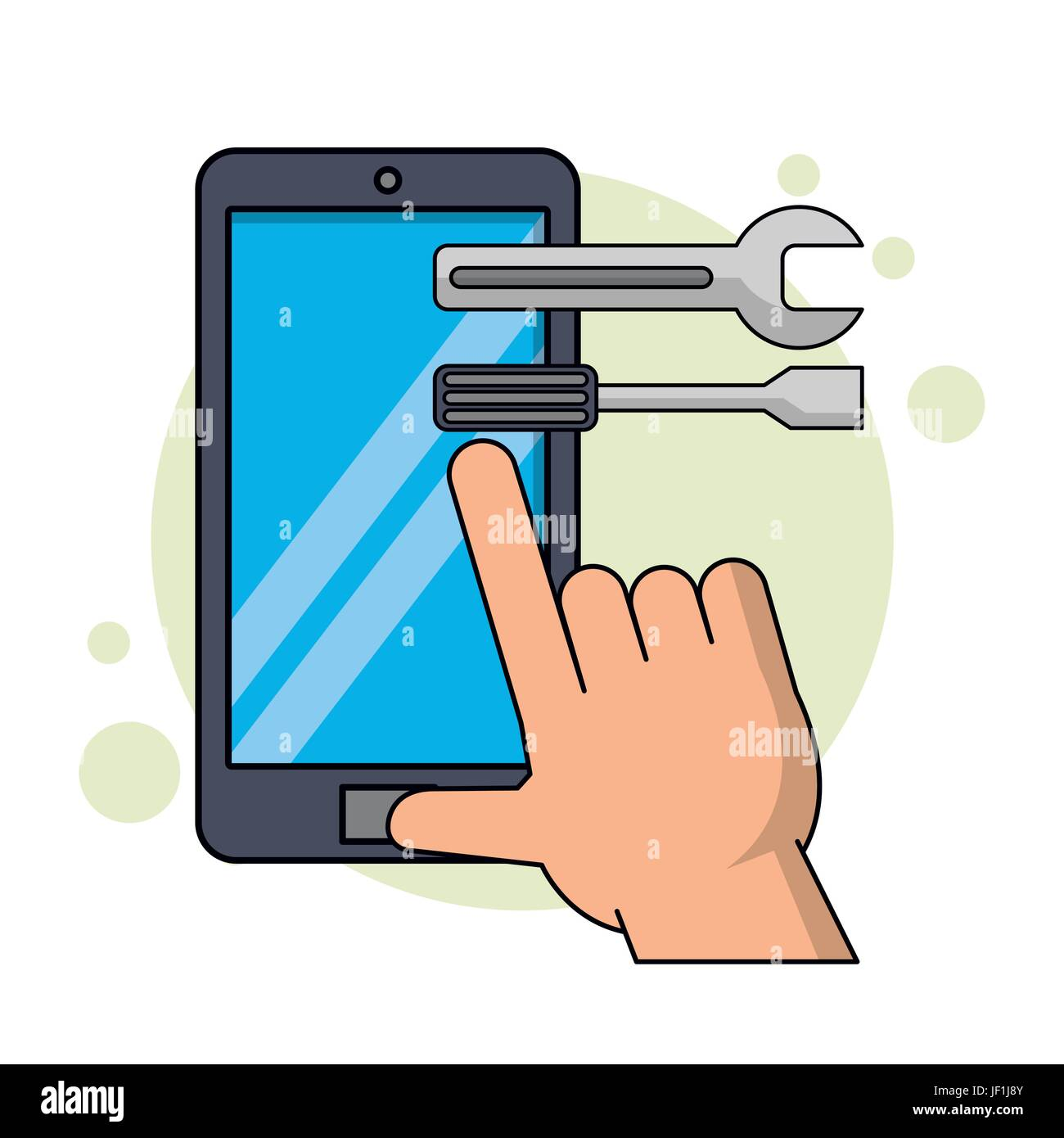 color background with smartphone and executing application of tools - Stock Image