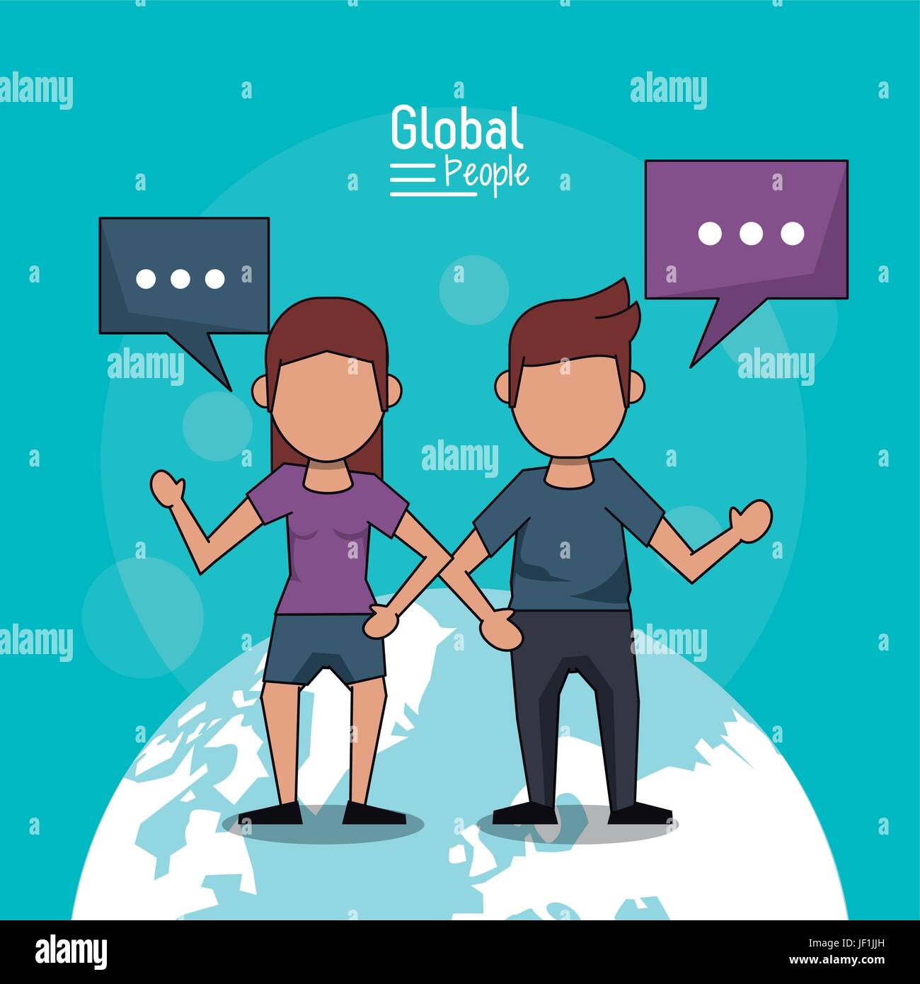 poster of global people with light blue background with faceless couple over planet earth and text dialogues - Stock Image