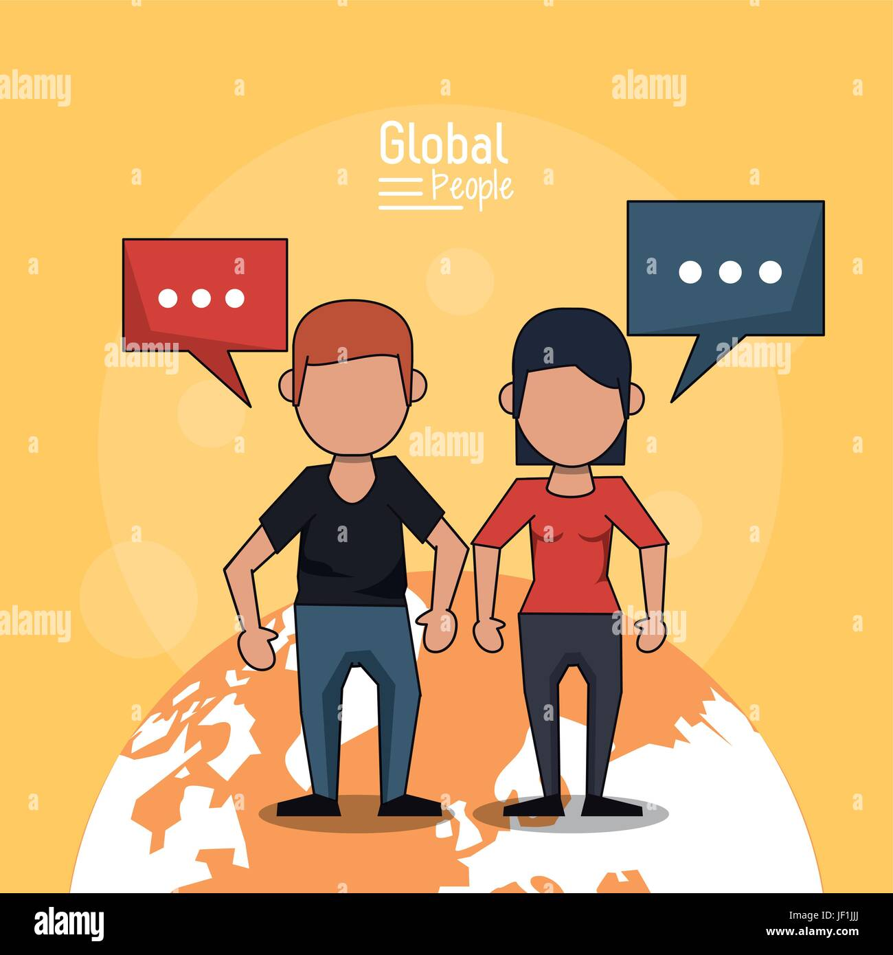 poster of global people with light orange background with faceless couple over planet earth and text dialogues - Stock Image