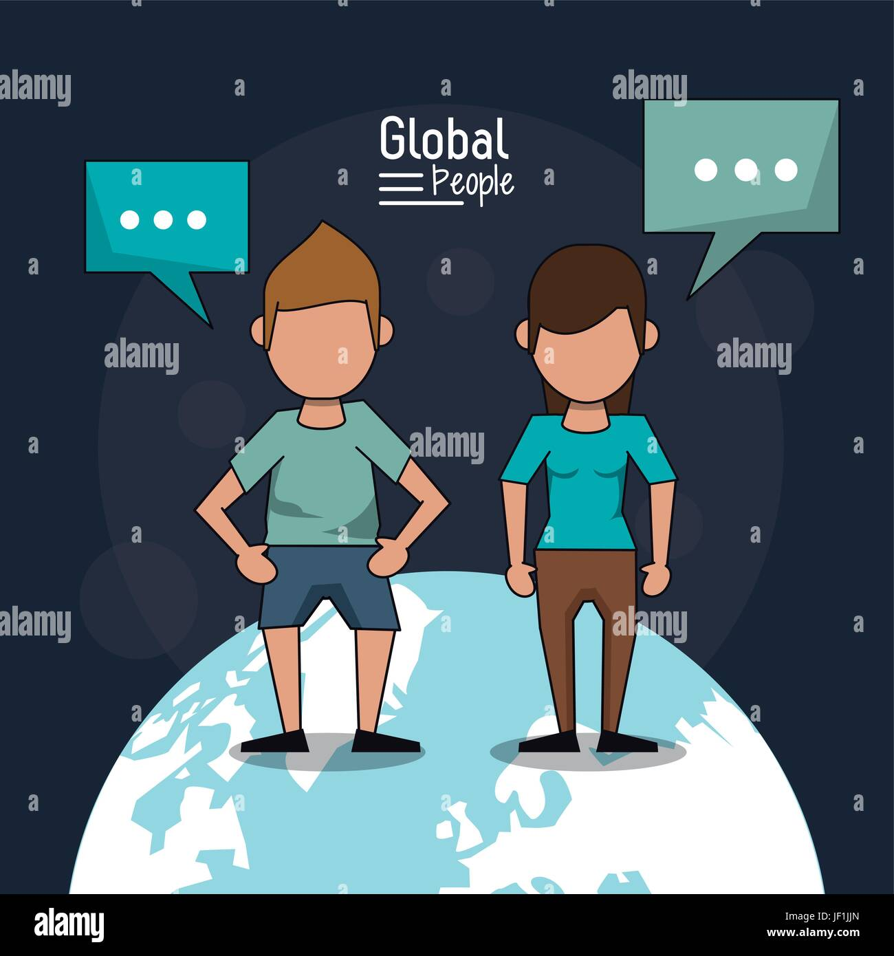 poster of global people with dark blue background with faceless couple over planet earth and text dialogues - Stock Image