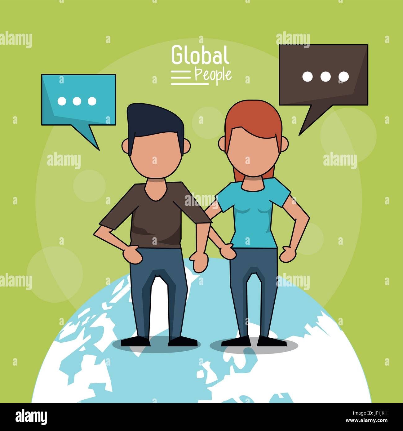 poster of global people with light green background with faceless couple over planet earth and text dialogues - Stock Image
