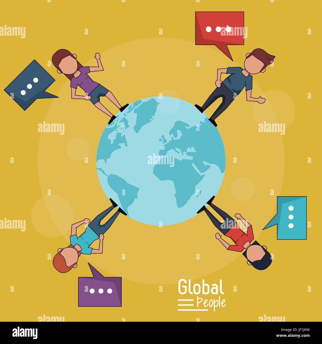 poster of global people with yellow background of planet earth and people around her with text dialogues - Stock Image