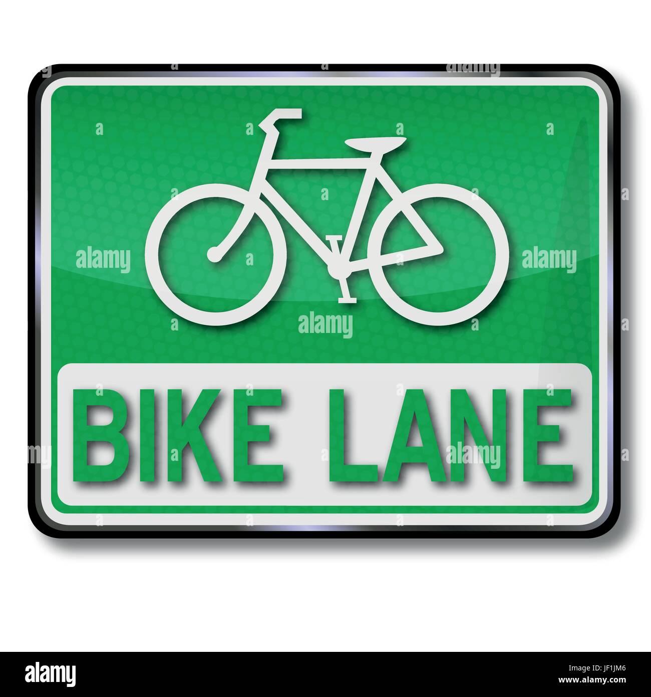 sign bike lane - Stock Image