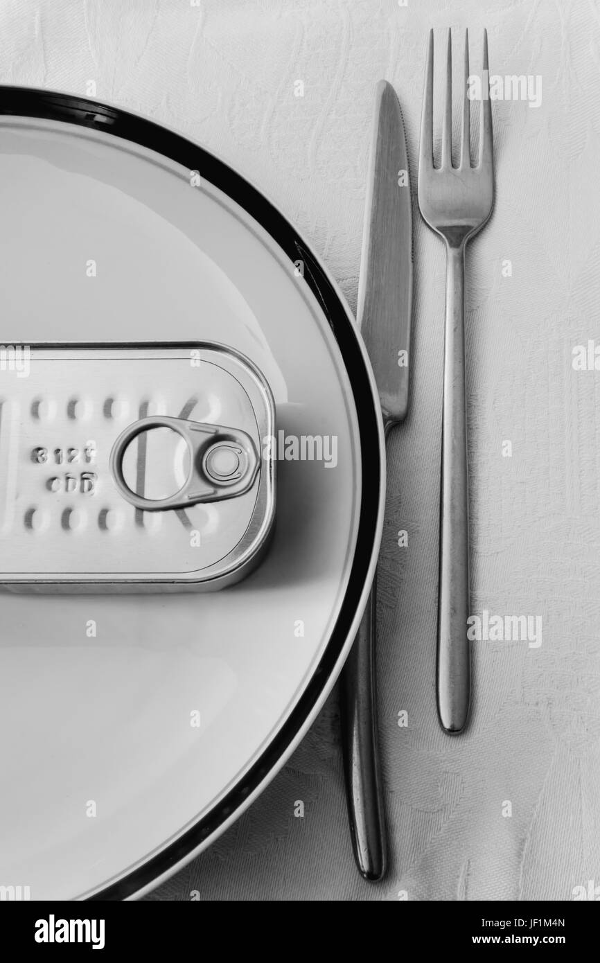 Canned food for meal - Stock Image