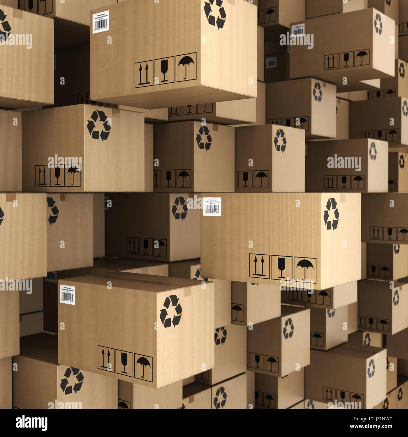3D rendering cardboard box Stock Photo