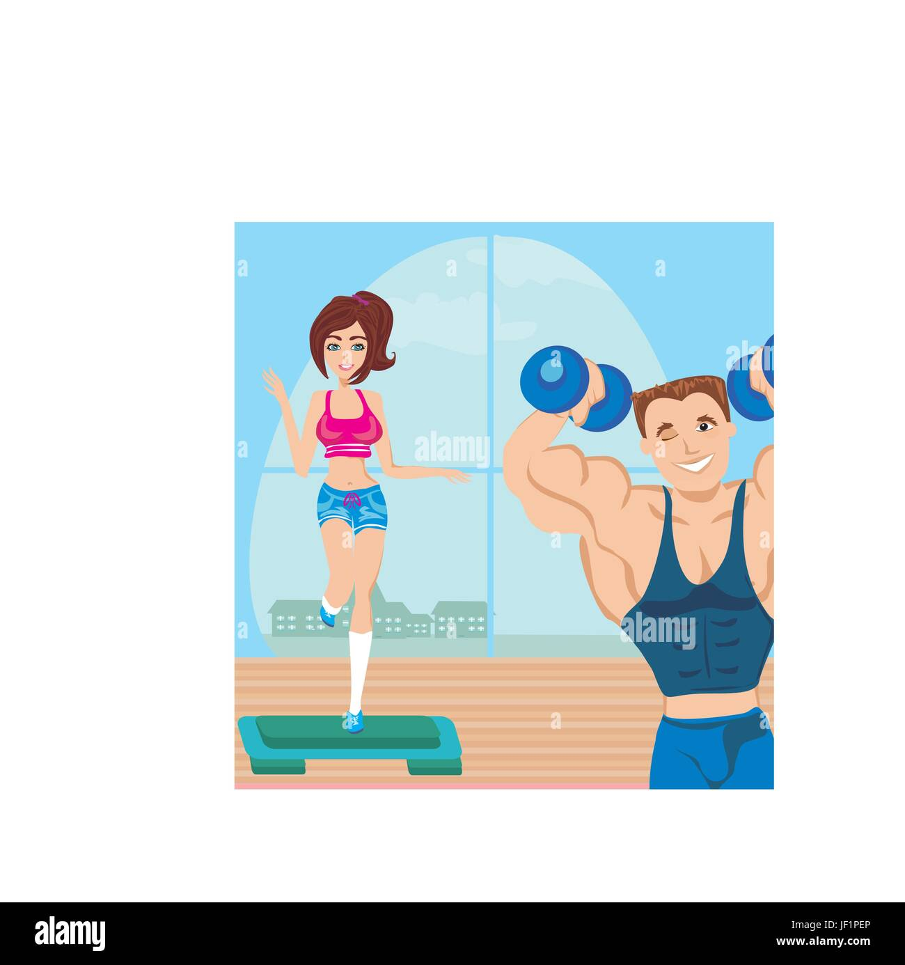 man and woman exercises in the gym - Stock Vector