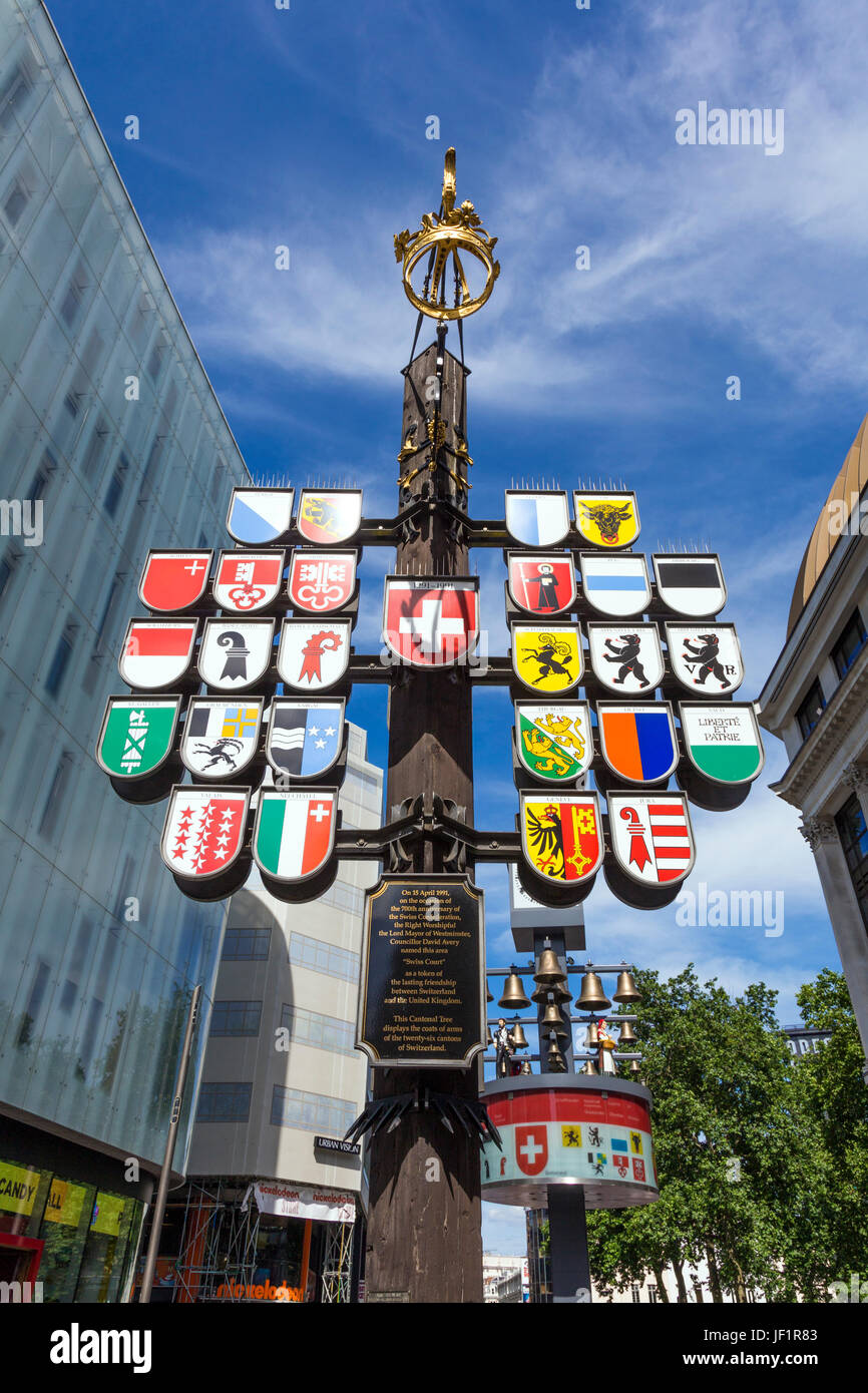 Cantonal Tree displaying the coats of arms of 26 cantons of Switzerland, Leicester Square, London, UK - Stock Image