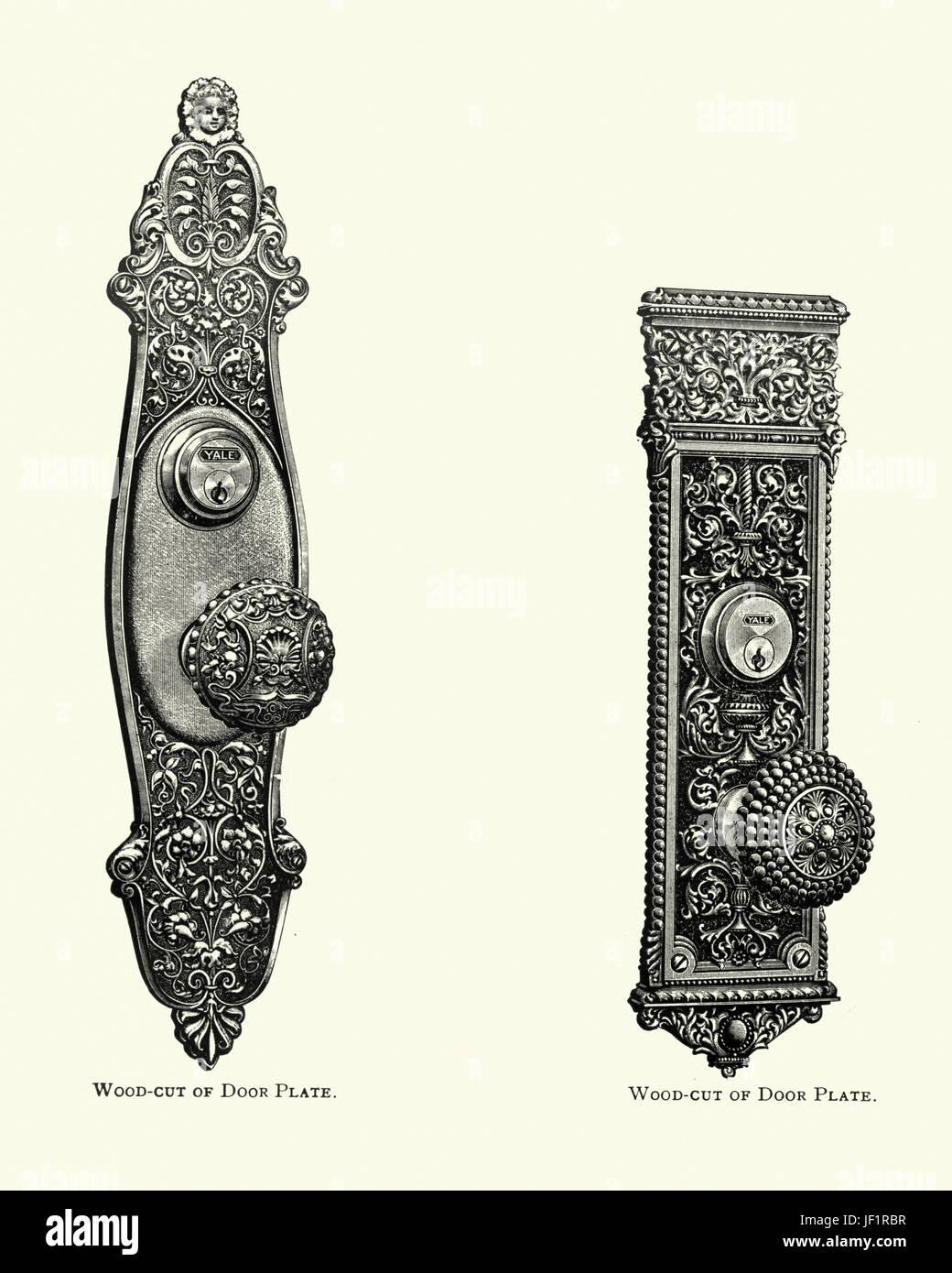 Edwardian decor, door plates, c. 1913 - Stock Image