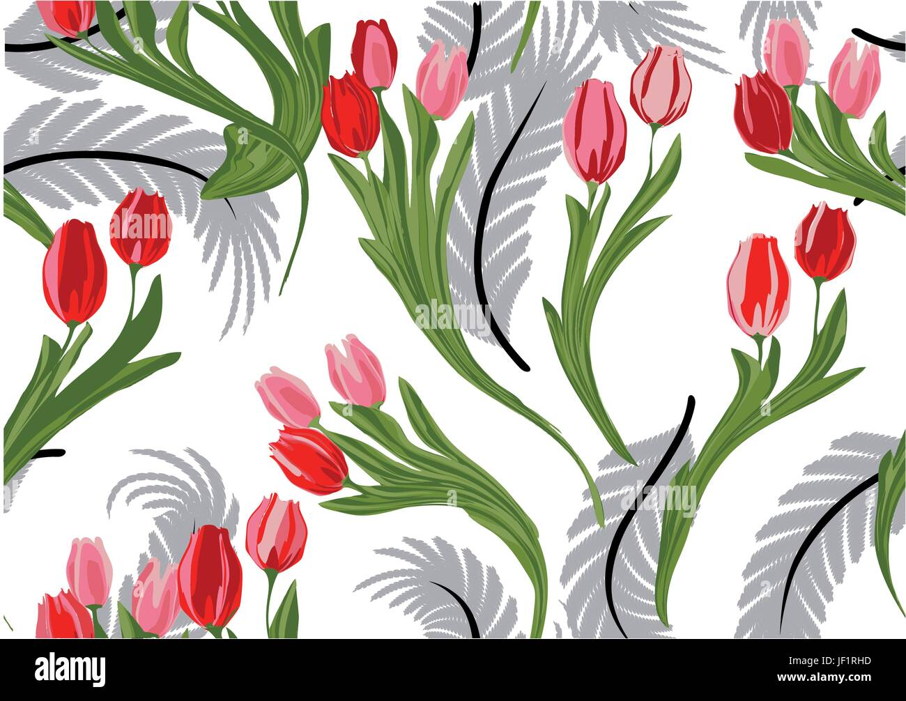 leaf, flower, plant, summer, summerly, tulips, spring, illustration, - Stock Vector