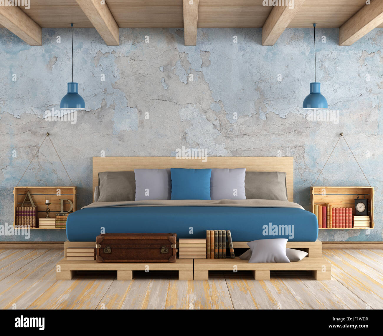 Master bedroom with pallet double bed ,old wall and wooden