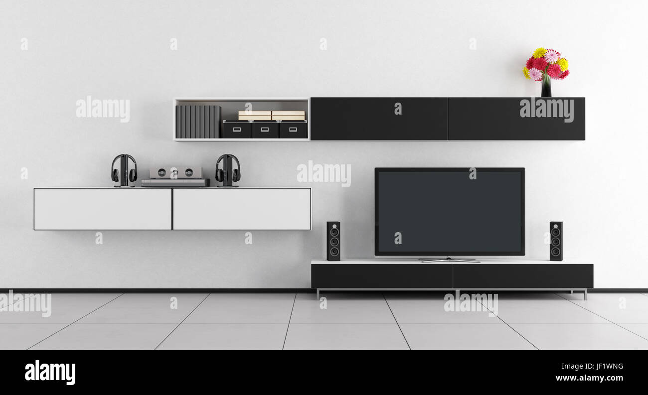 Black and white room with tv unit and home cinema system - 3d Stock ...