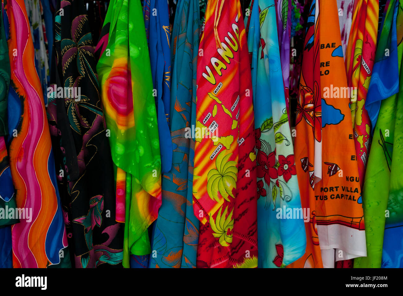 Sarongs for sale in Port Vila, Island of Efate, Vanuatu, South Pacific - Stock Image