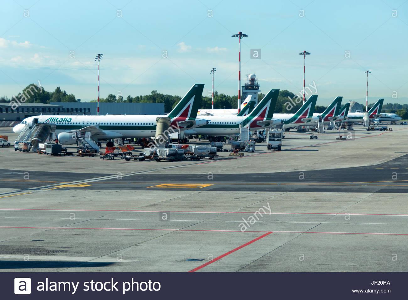 Linate International City Airport, Milan, Alitalia airplanes - Stock Image