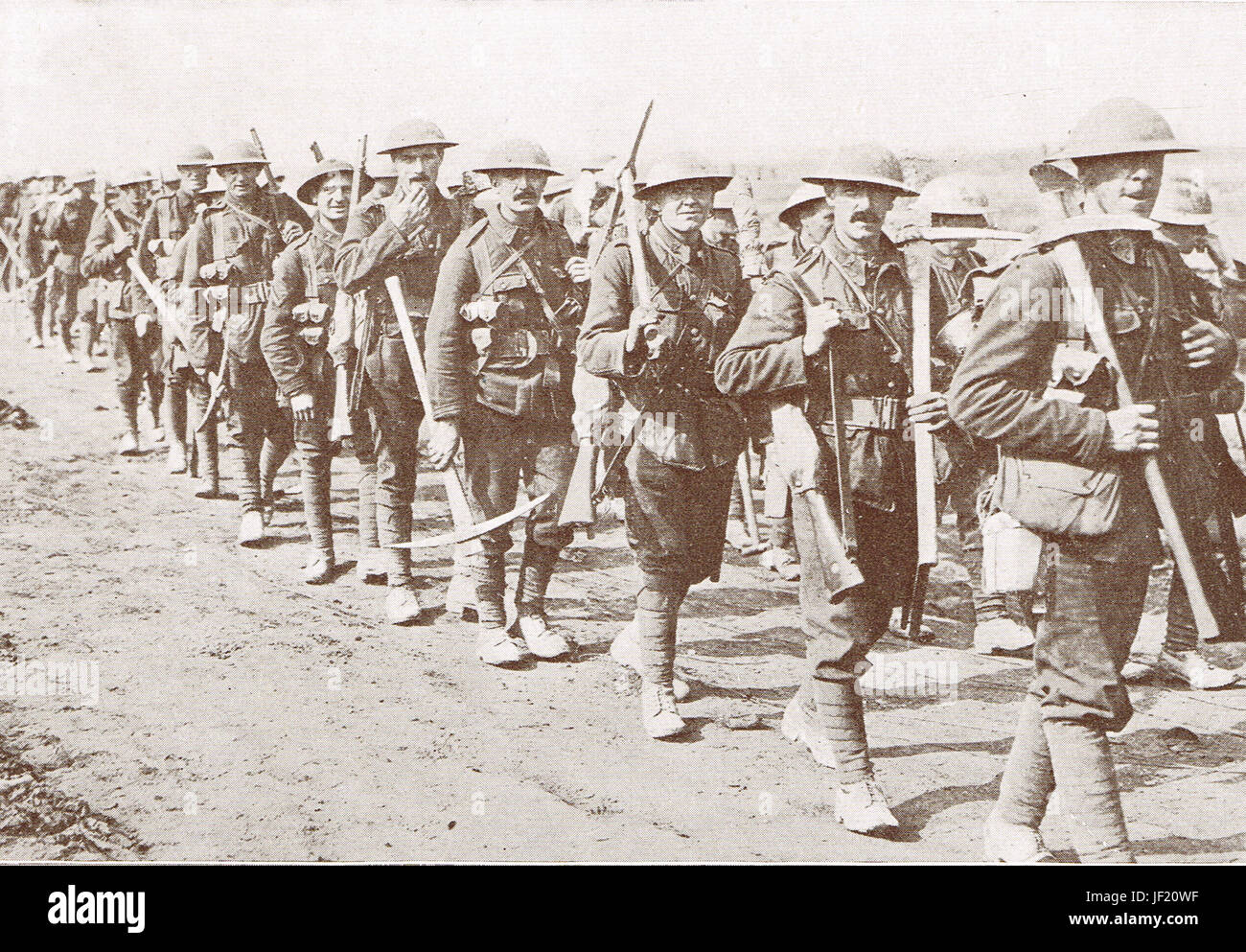 Canadian infantry on the march 1916 - Stock Image