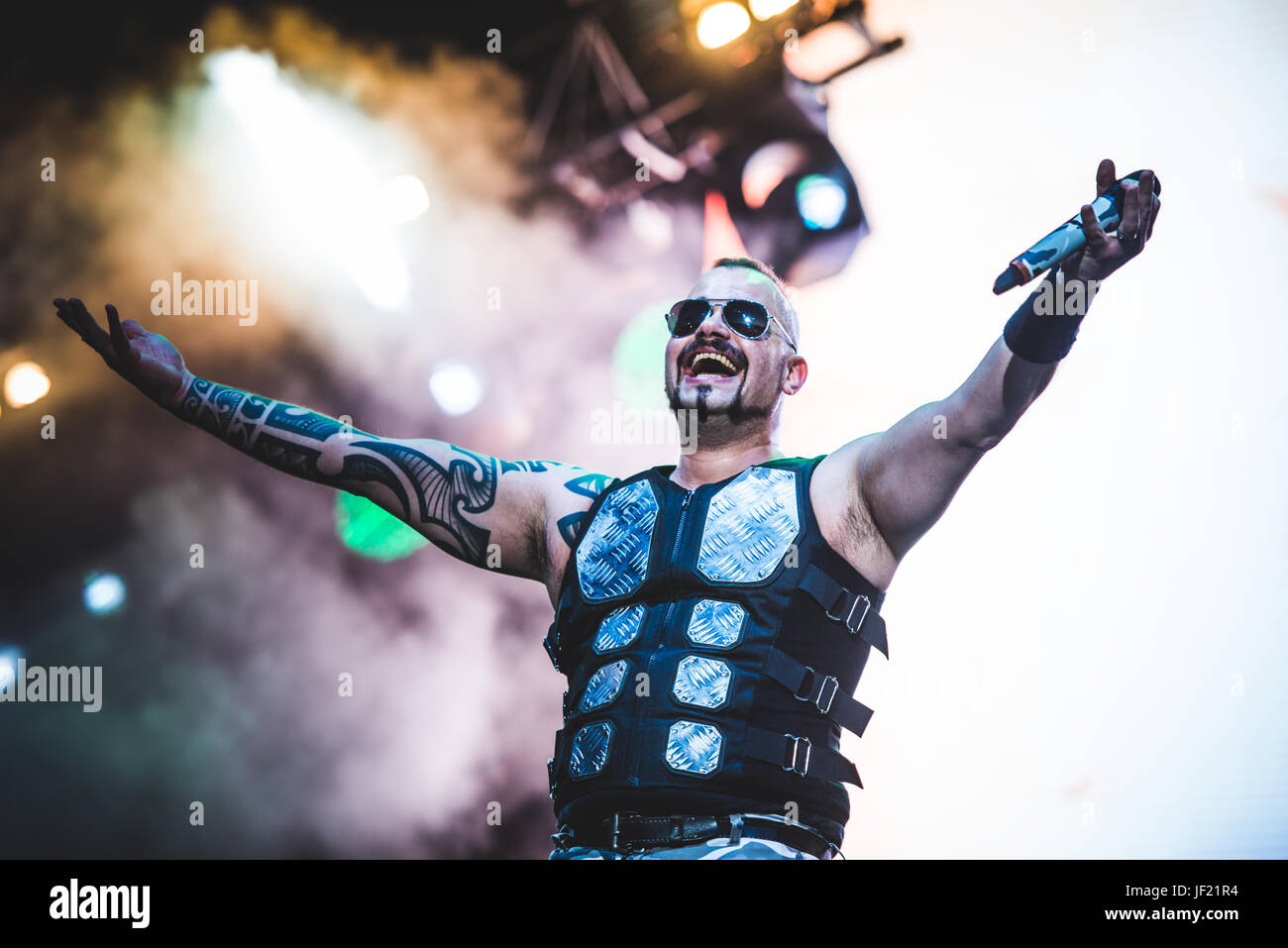 June 16, 2017: Sabaton performing live at the Hellfest Festival 2017 in Clisson, near Nantes Photo: Alessandro Bosio Stock Photo