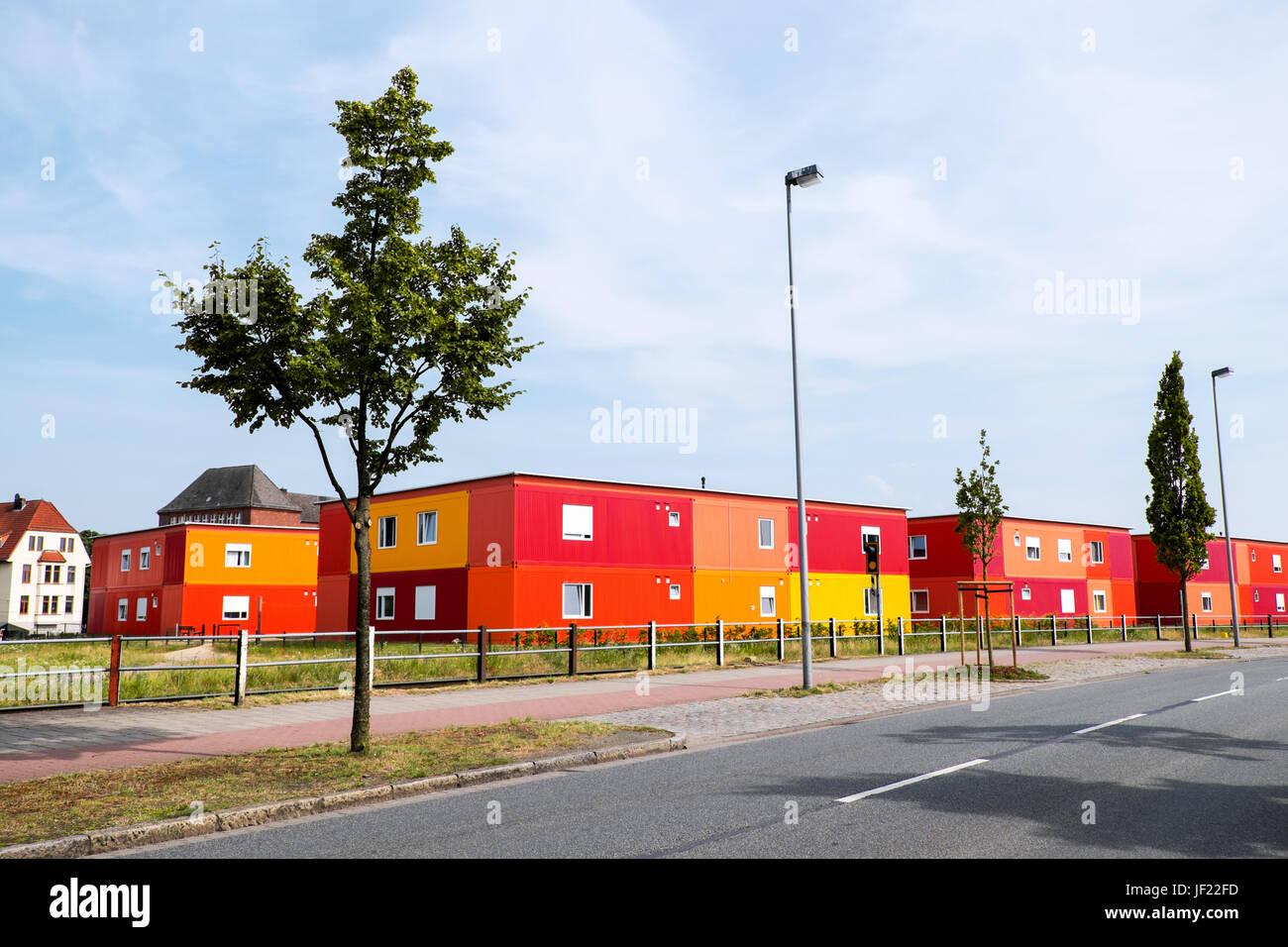 Wohncontainer Flüchtlingsdorf - Stock Image