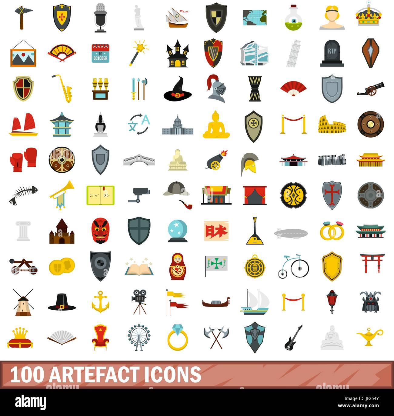 100 artefact icons set, flat style - Stock Image