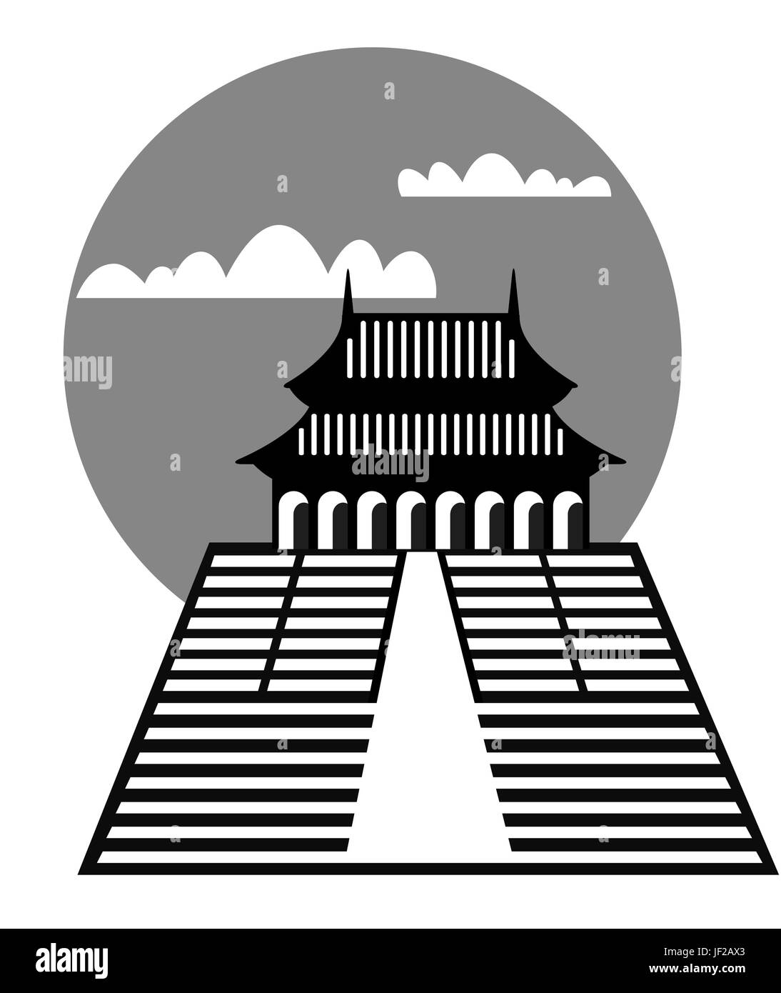 asia, china, style of construction, architecture, architectural style, japan, - Stock Vector