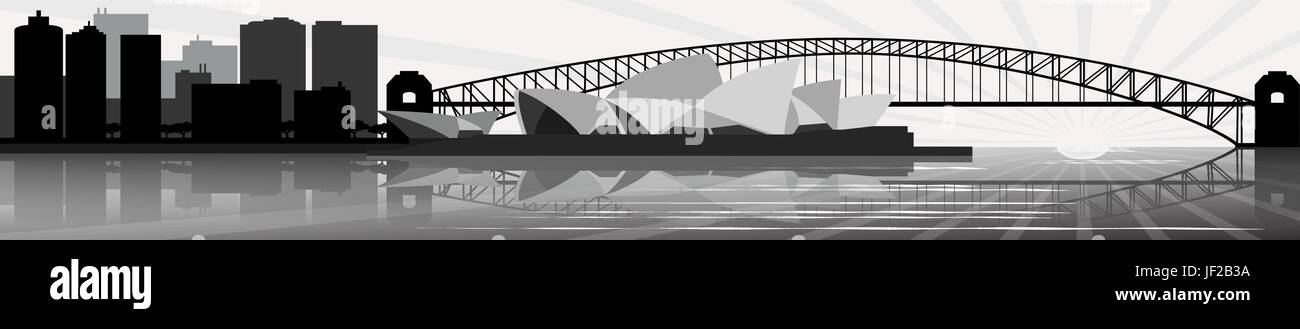 famous, bridge, australia, opera, landmark, vector, tower, travel, buildings, - Stock Vector