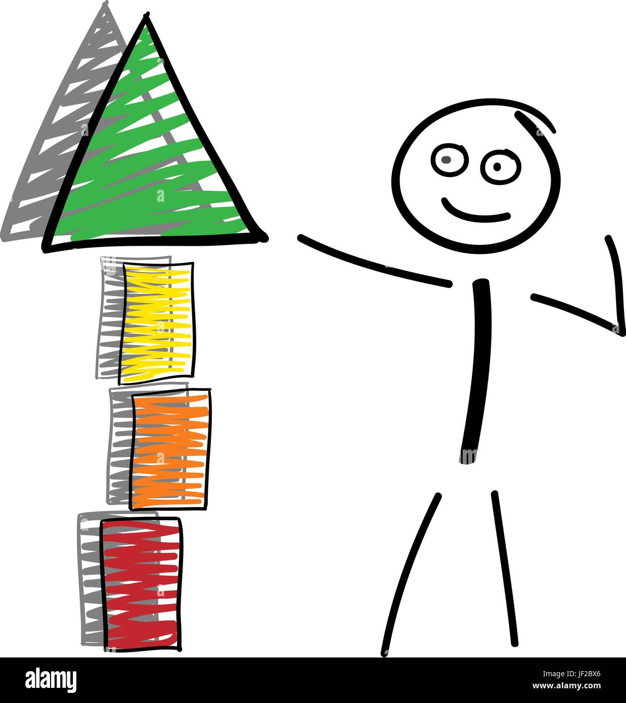 stick figure pointing to tower top from red to green with shadow