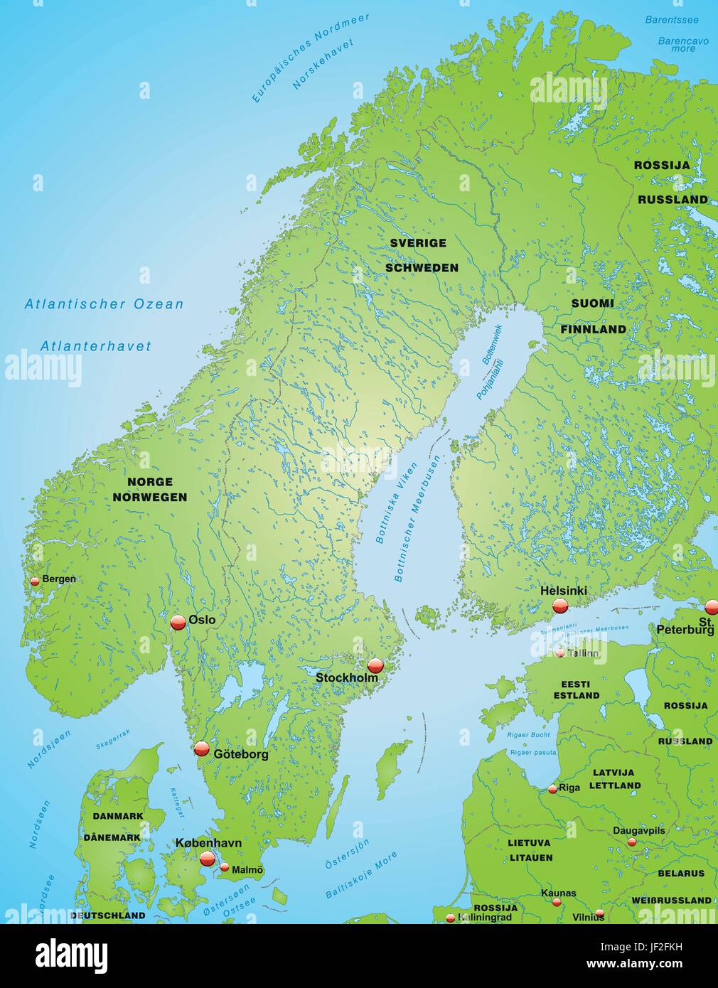 Map Of Scandinavia Stock Vector Art Illustration Vector Image