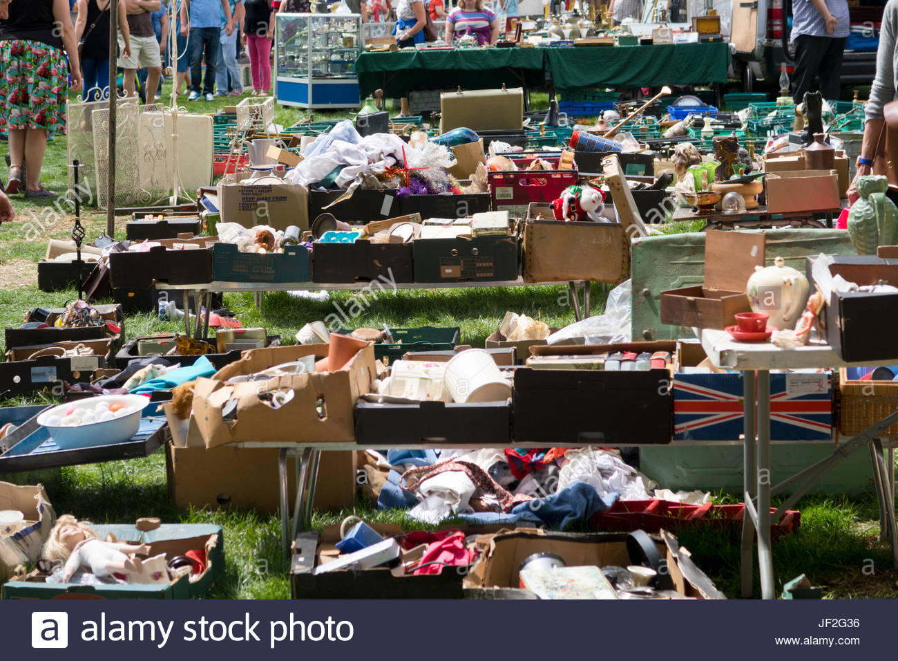 Close Up Of Stalls At Outdoor Secondhand Flea Market - Stock Image