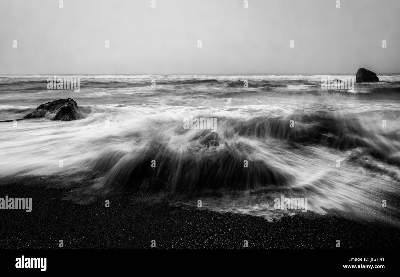Angry Ocean in Black and White - Stock Image